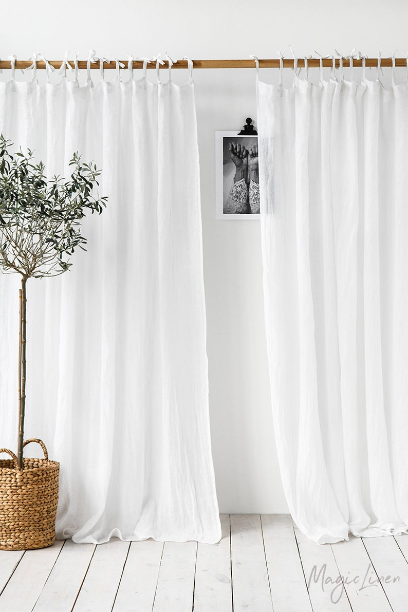 MagicLinen Tie top sheer linen curtain panel. Light stone. Come discover lovely European Country Bespoke Linen for Home & You! #europeancountry #interiordesign #linen #handmadelinens #linenclothing #linendecor #homedecor