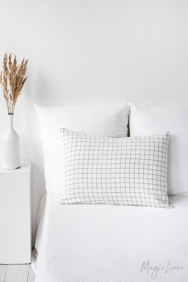 Linen pillowcase in Charcoal Grid Windowpane. Linen pillow
