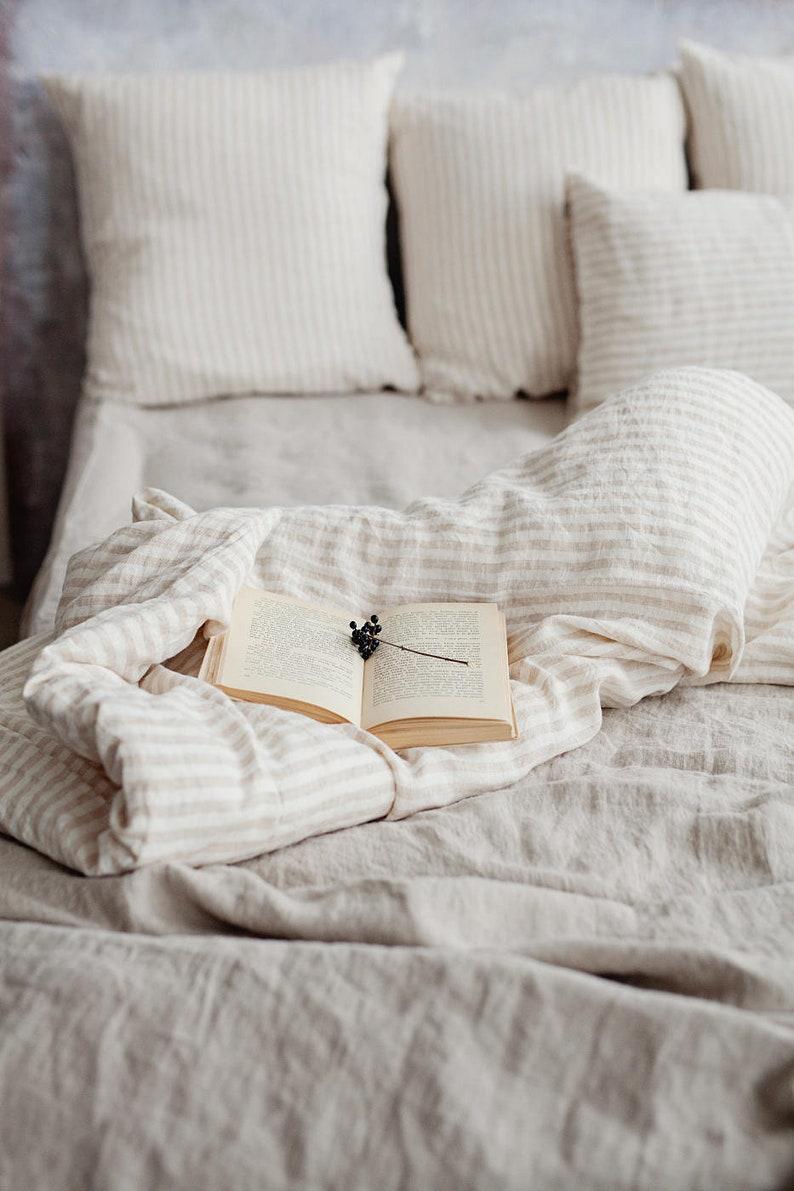 MagicLinen beachy stripe linen bedding - a serene bedroom awaits!