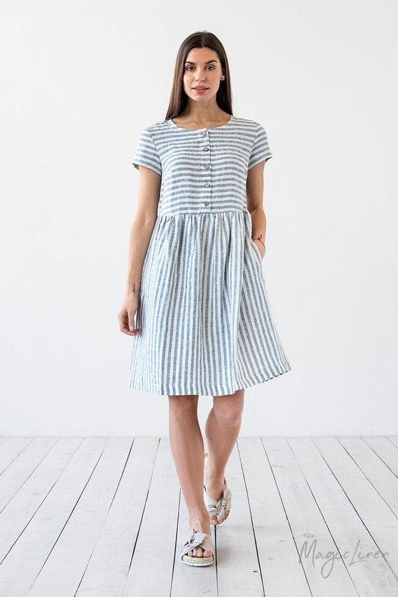 Striped linen dress FLORENCE. Linen dress for woman. Knee length, short sleeved linen shirt dress. Linen clothing for women.