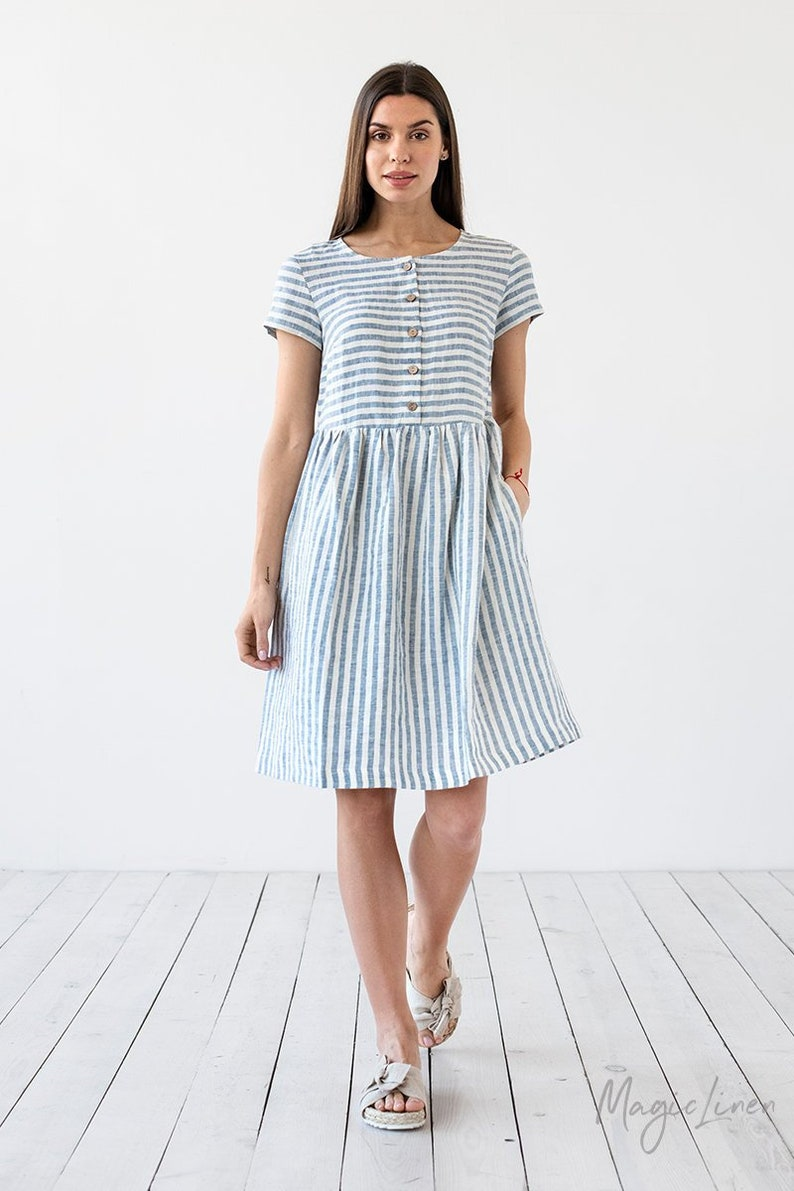 Come discover these Over 50 Fashion: Running Errands Comfy Cute Pieces! Beautiful handmade striped linen dress. #fashionover50