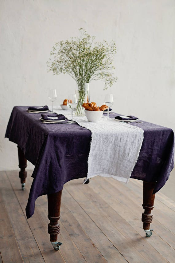 Linen Tablecloth In Purple Charcoal Deep Purple. Round | Etsy