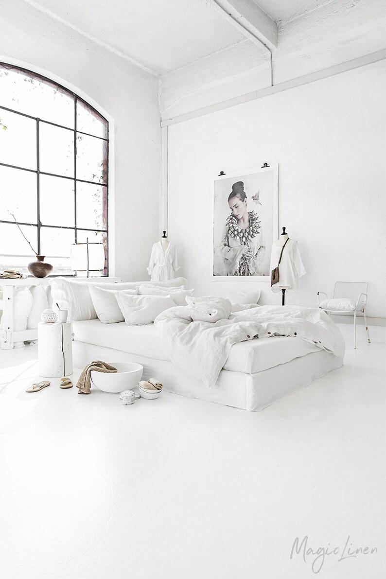 Linen duvet cover in Optical White / Off-White. King, queen, custom size  bedding.