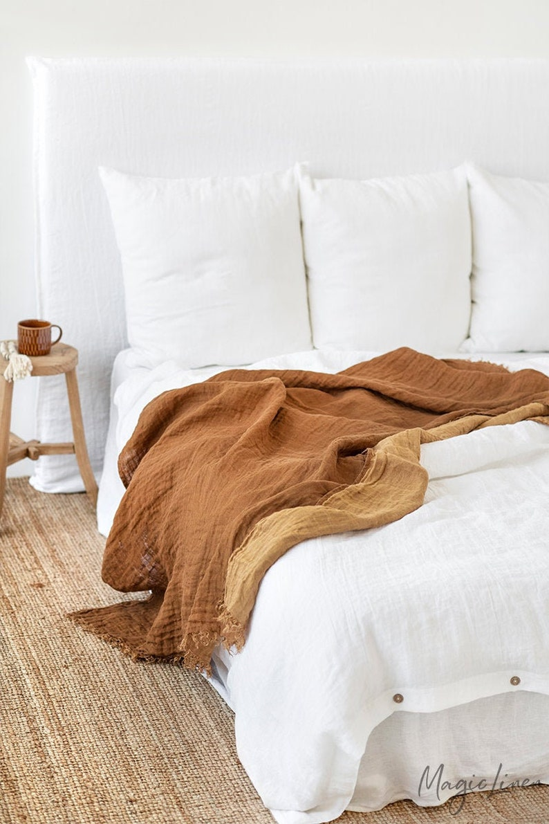 Double sided linen throw. Bed throw blanket in cinnamon/tan