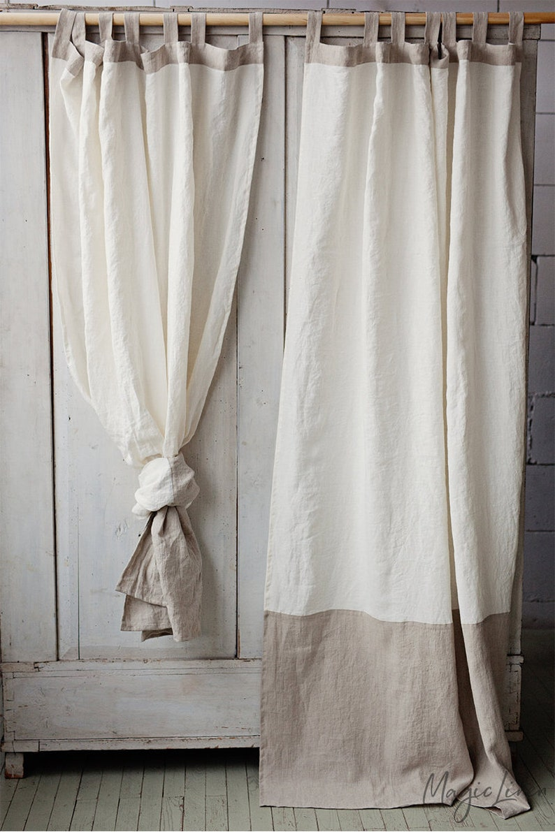 MagicLinen Tab top linen curtain panel in two colors. Come discover lovely European Country Bespoke Linen for Home & You! #europeancountry #interiordesign #linen #handmadelinens #linenclothing #linendecor #homedecor