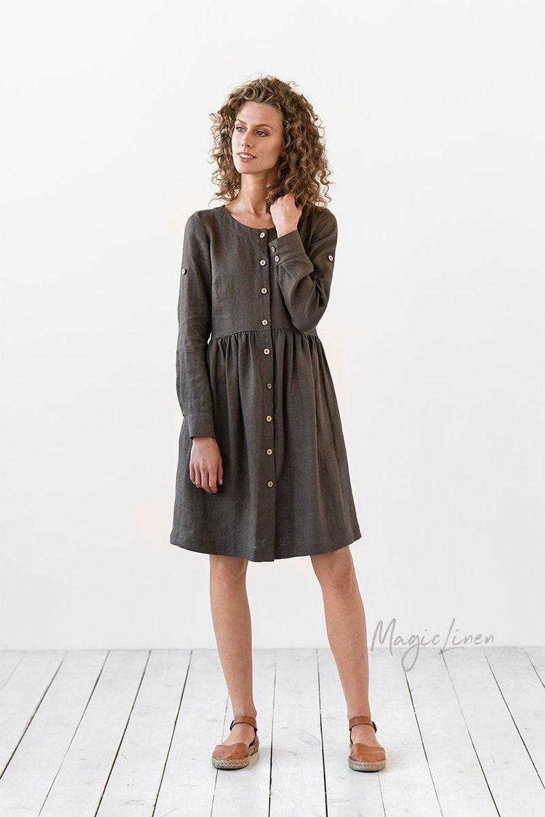 b3daa5a15b Long sleeve linen shirt dress TUSCANY. Knee-length loose fit
