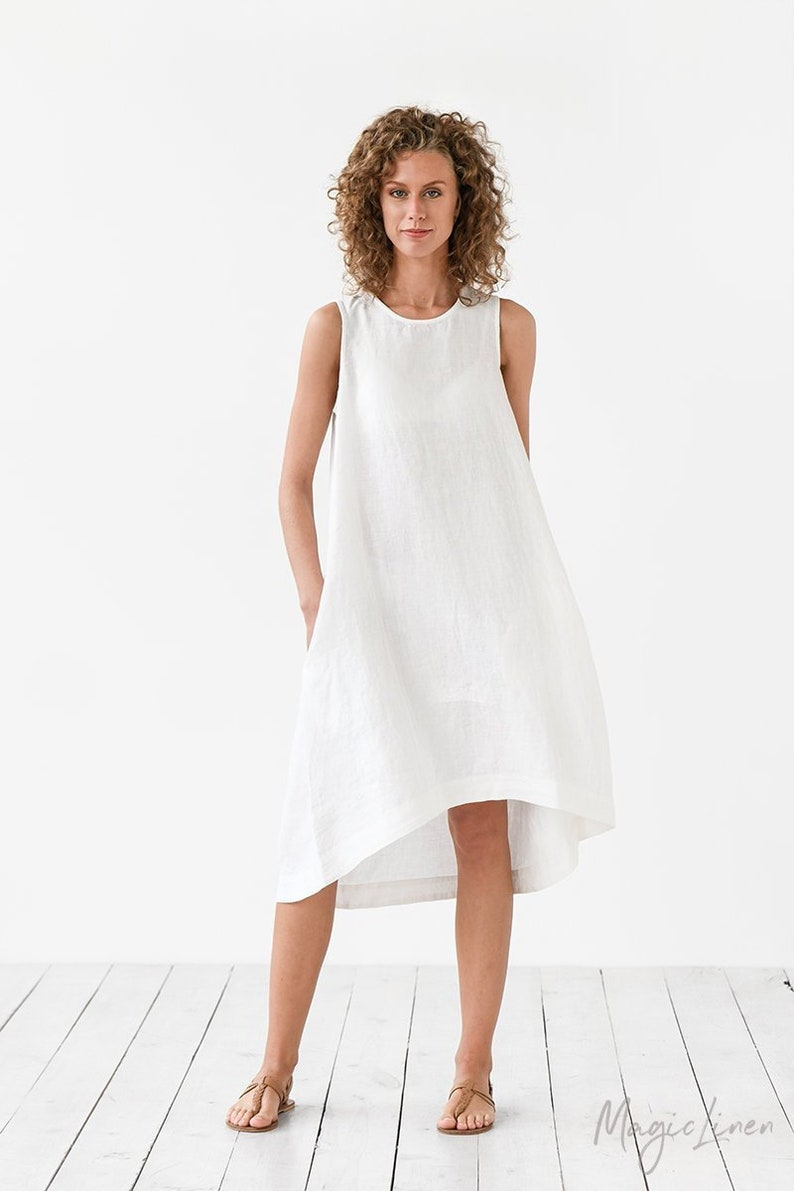 White linen dress TOSCANA. Asymmetrical sleeveless loose image 0