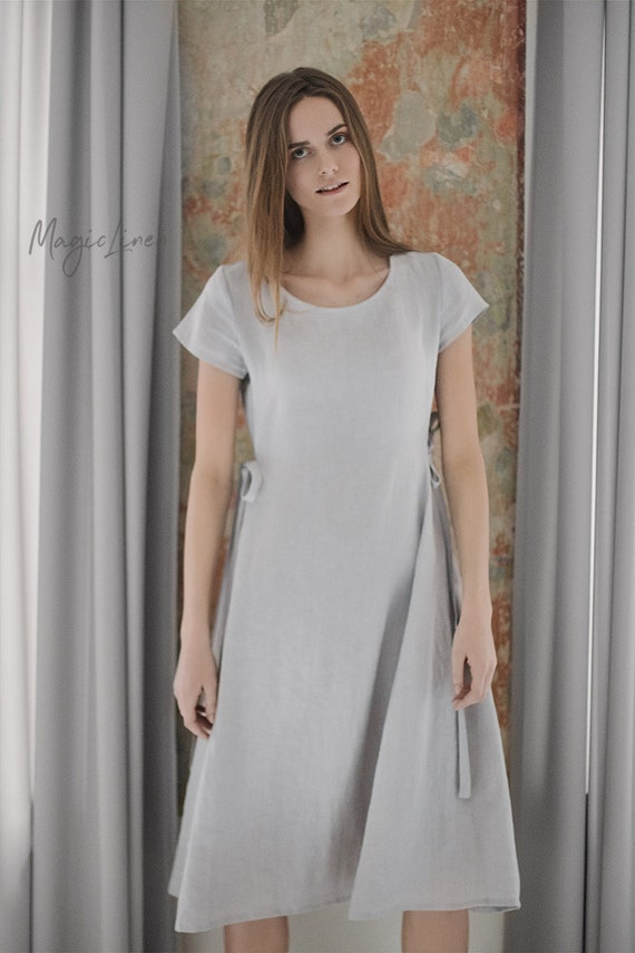 59121c0977 Linen dress with ties MORELLA. Various colors available.