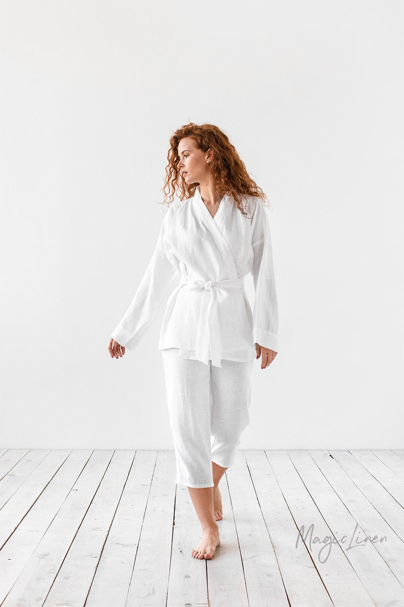 Kimono style linen pajamas with tie front at waist - a beautiful way to be comfortable while lounging!
