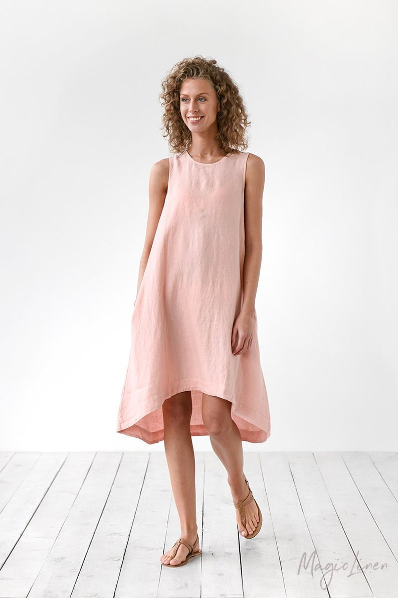 Light pink linen dress TOSCANA. Sleeveless linen dress. Loose image 0