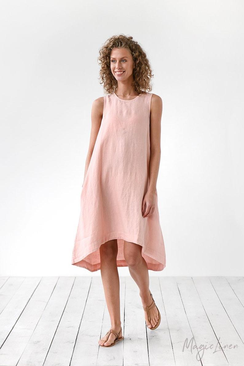 Light pink linen dress TOSCANA. Sleeveless linen dress.