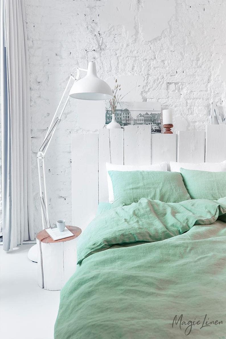Linen bedding set in Matcha Green. King Queen duvet cover image 5
