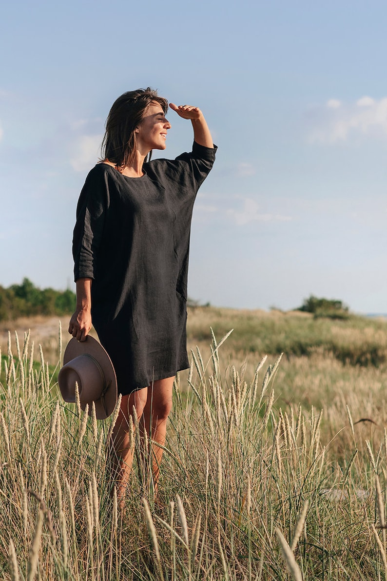Loose-fit linen dress ARUBA. Knee length long sleeve linen image 5