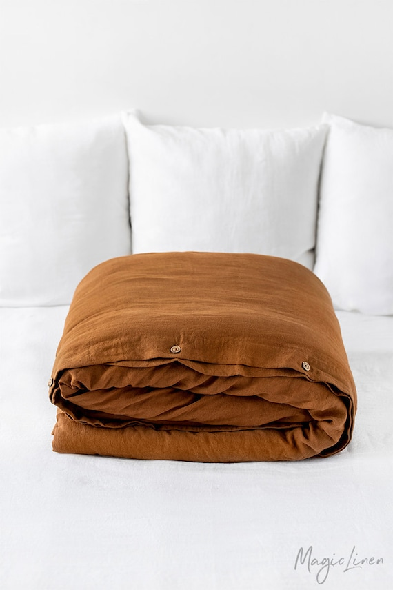 Custom sizes Washed linen bedding Farmhouse decor Linen duvet cover in clay color