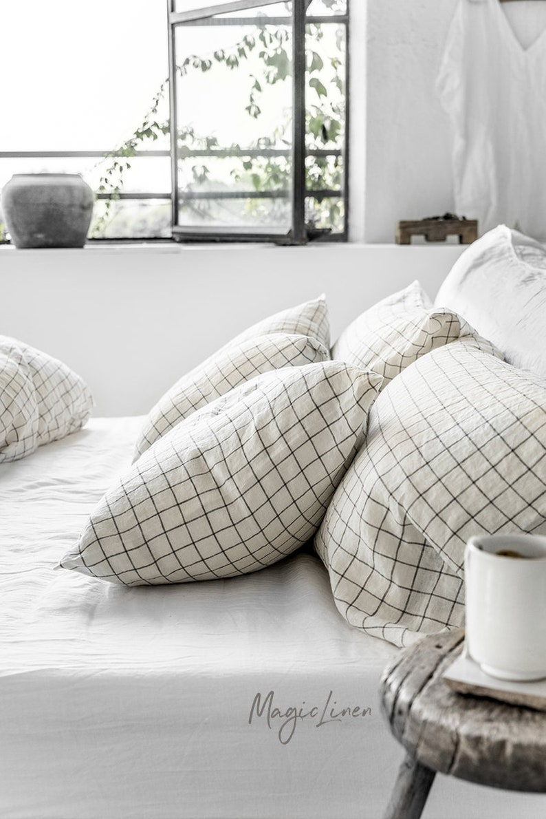 Linen pillowcase in Charcoal Grid Windowpane. Linen pillow image 2