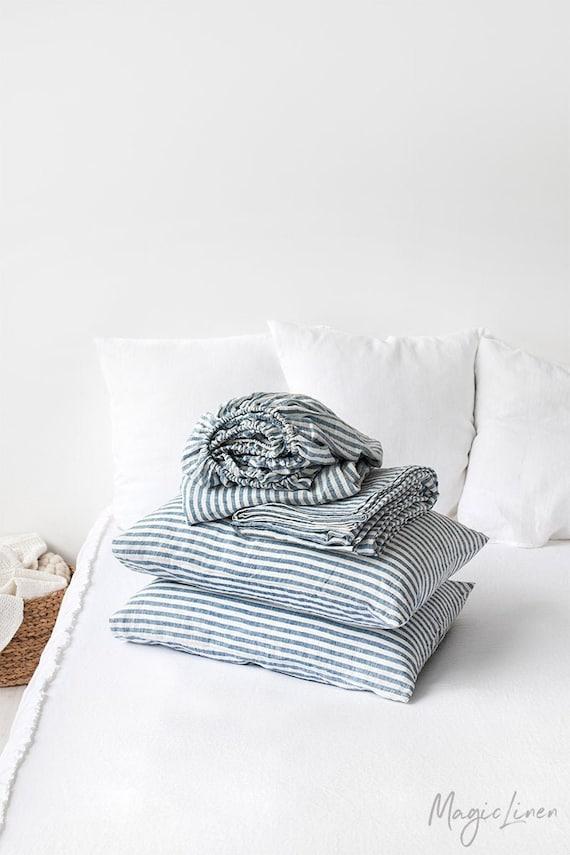 Linen Sheet Set  Flat linen bed sheets  Fitted sheet  Double Queen King Custom size