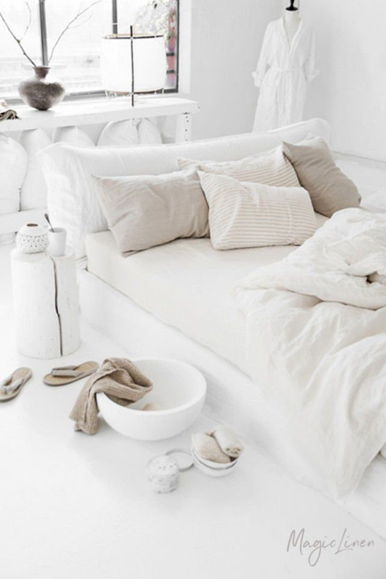 MagicLinen Linen fitted sheet in White / Ivory. Come discover lovely European Country Bespoke Linen for Home & You! #europeancountry #interiordesign #linen #handmadelinens #linenclothing #linendecor #homedecor