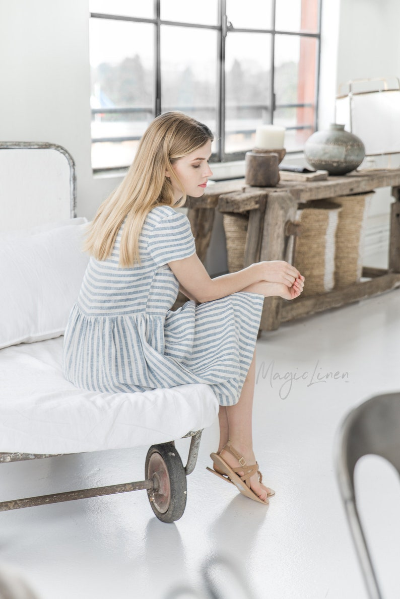 Come discover these Over 50 Fashion: Running Errands Comfy Cute Pieces! Striped linen Florence dress. #fashioover50