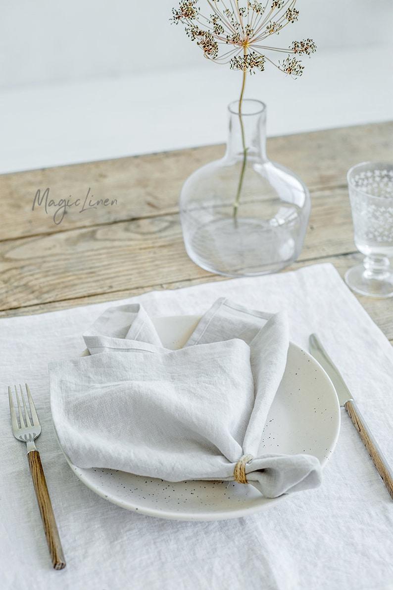 Light Gray linen napkin set of 2. Handmade stone washed linen image 0