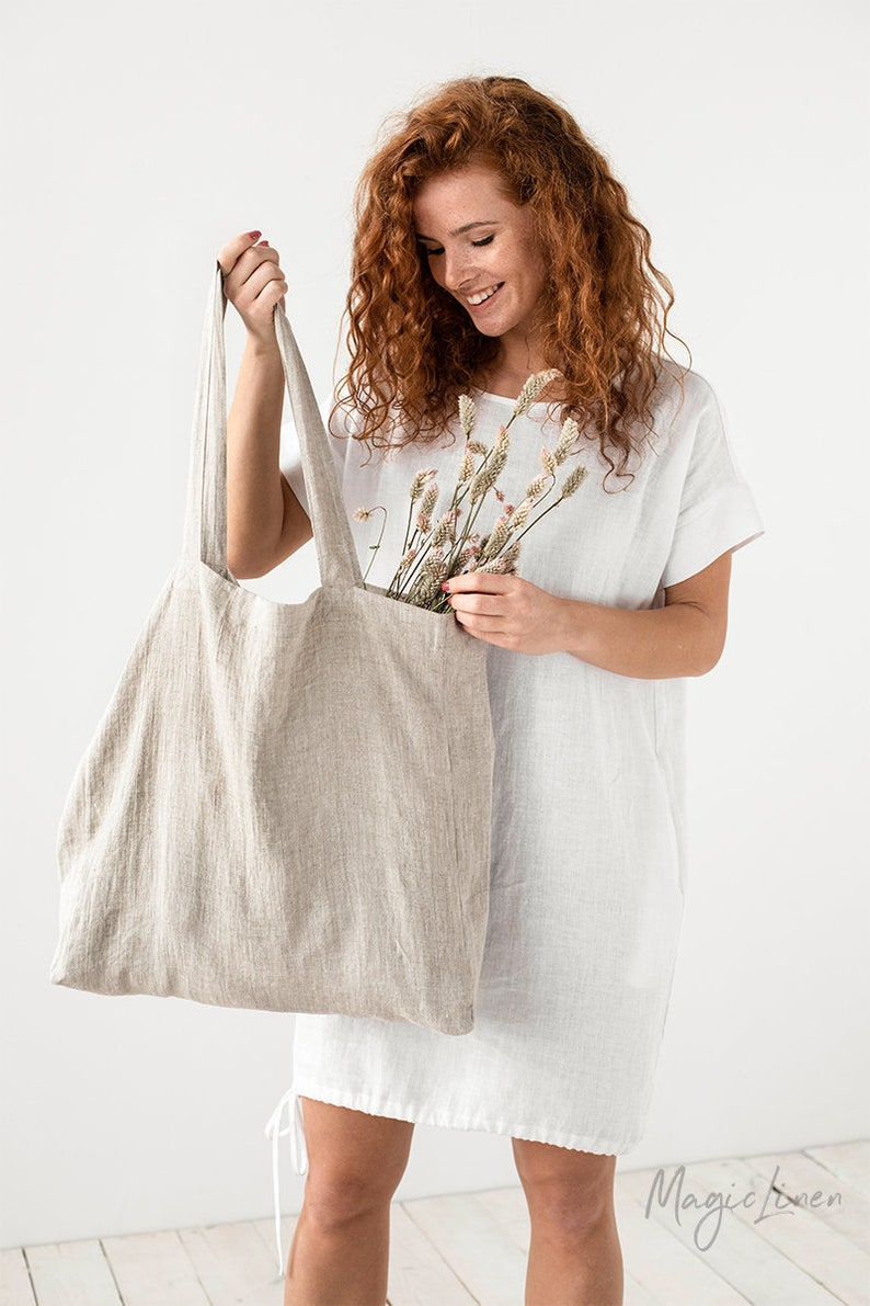 MagicLinen Large linen bag. Linen tote bag. Roomy linen shopping bag. Come discover lovely European Country Bespoke Linen for Home & You! #europeancountry #interiordesign #linen #handmadelinens #linenclothing #linendecor #homedecor