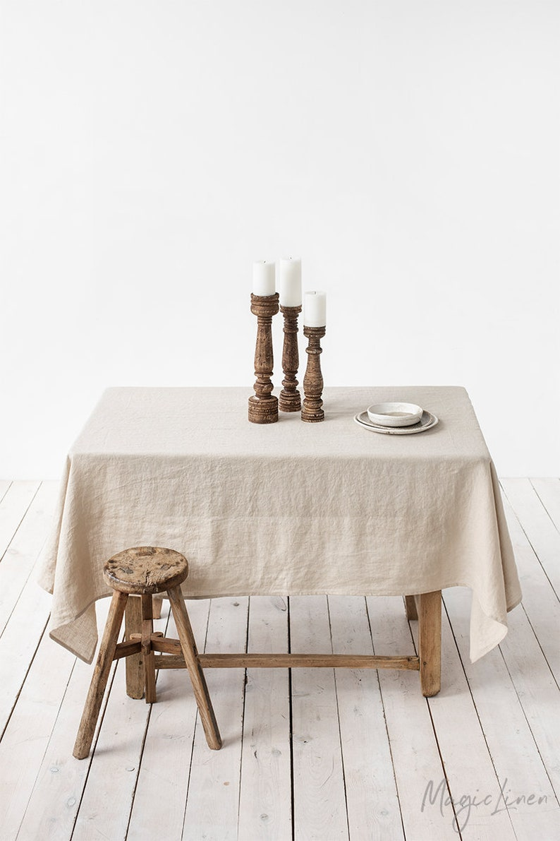 Linen tablecloth in various colors. Round square rectangular Natural linen colour