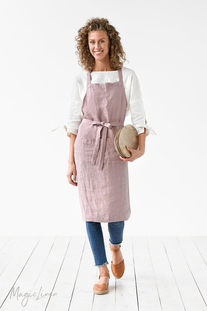 Linen apron. Washed linen apron for cooking gardening. Full Woodrose