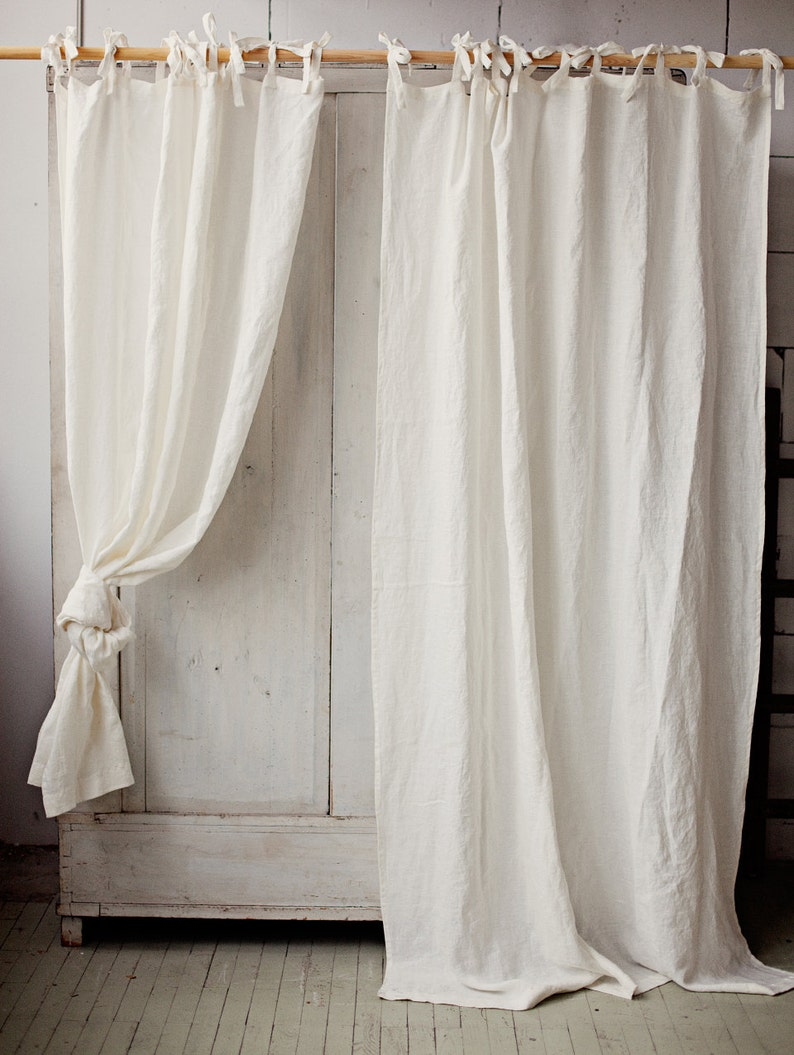 Tie top linen curtain panel Various colours. Semi-sheer image 0