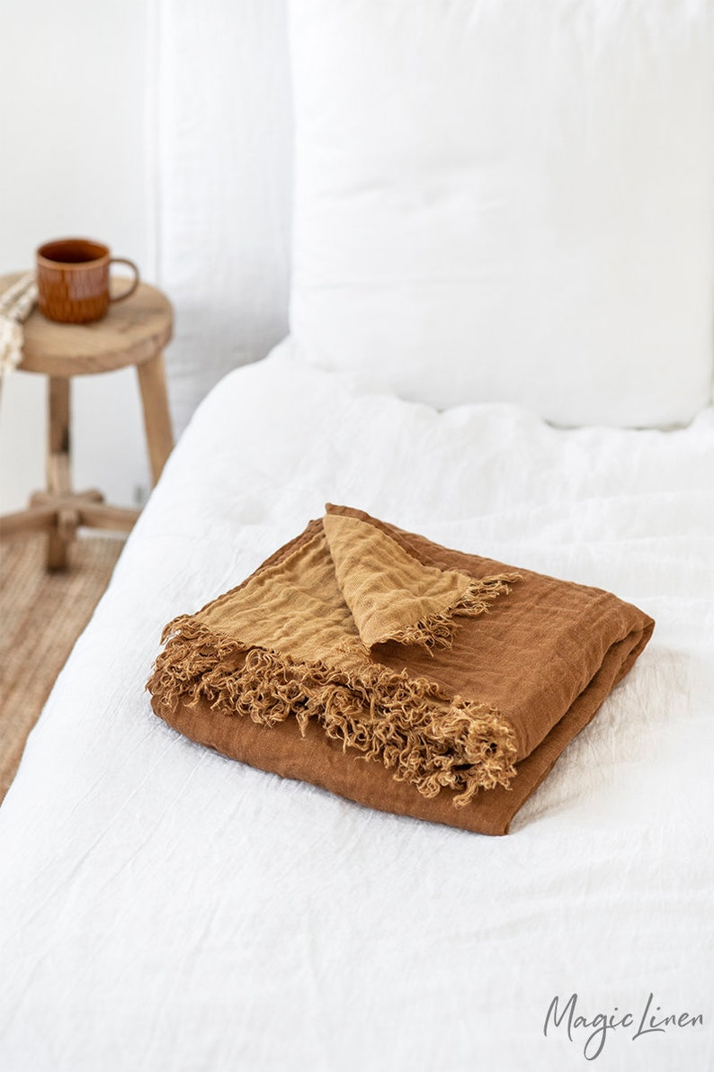Double sided linen throw. Bed throw blanket in cinnamon/tan image 1