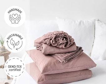Linen sheet set in Woodrose (Dusty Pink). Fitted sheet, flat sheet, 2 pillow cases. Linen bedding, King/Queen size.