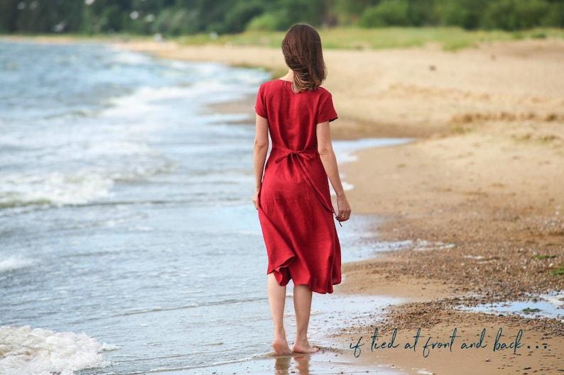 fc14f456e88 Linen dress with ties MORELLA. Linen summer dress for woman