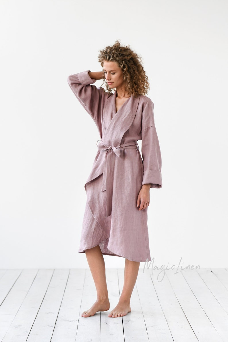 Linen bath robe in various colors. Dressing gown. Perfect gift Woodrose