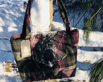 Ladies' HARRIS TWEED Red and Grey  Plaid Shoulder Tote Hand Bag