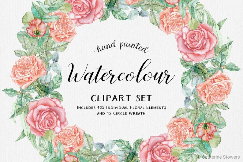 Pale Pink Orange Rose /& Eucalyptus Leaves Watercolour Clipart Includes Wreath and Individual Elements Digital Downloadable PNG Files