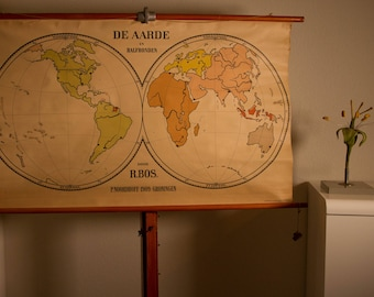 Vintage  Pull Down Chart The Earth in two hemispheres  School Chart