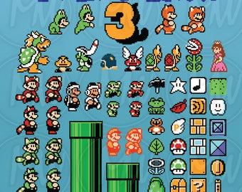 Super Mario Bros 3, Clipart, Mario, Pixels, 8-bit, Vector, Classic, Game, Art, Digital, Stamp, Scrapbook, Instant Download, Clip art, #121