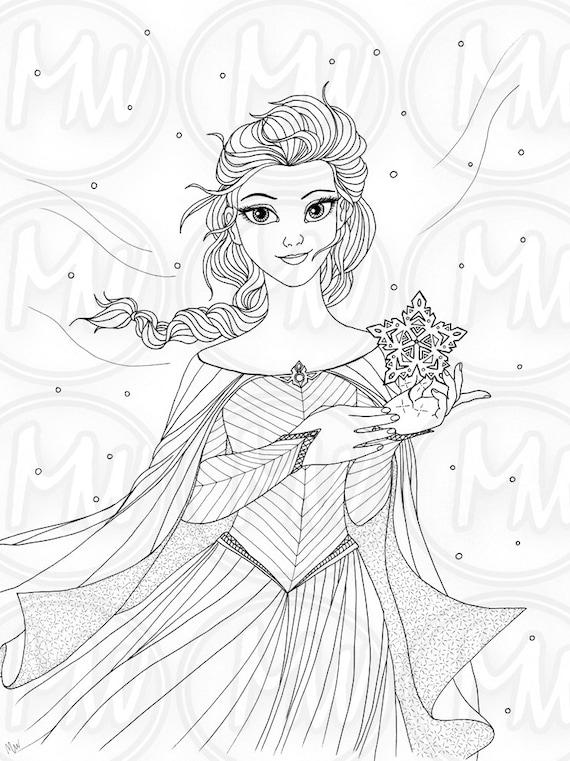 Elsa congelados princesa Reina página para colorear | Etsy