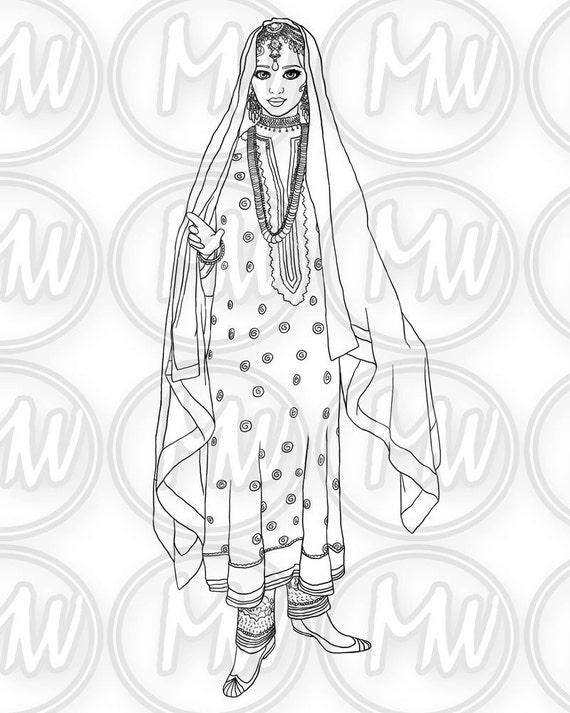 Árabe princesa para imprimir colorear página sello | Etsy