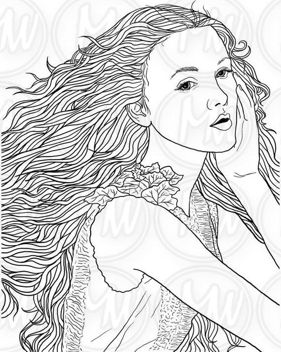 Adultos página para colorear mujer rostro cabello largo | Etsy