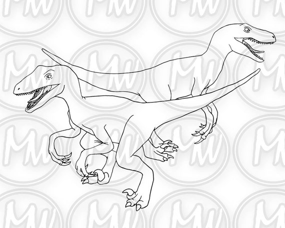 Dinosauro Velociraptor Stampabili Da Colorare Timbro Etsy