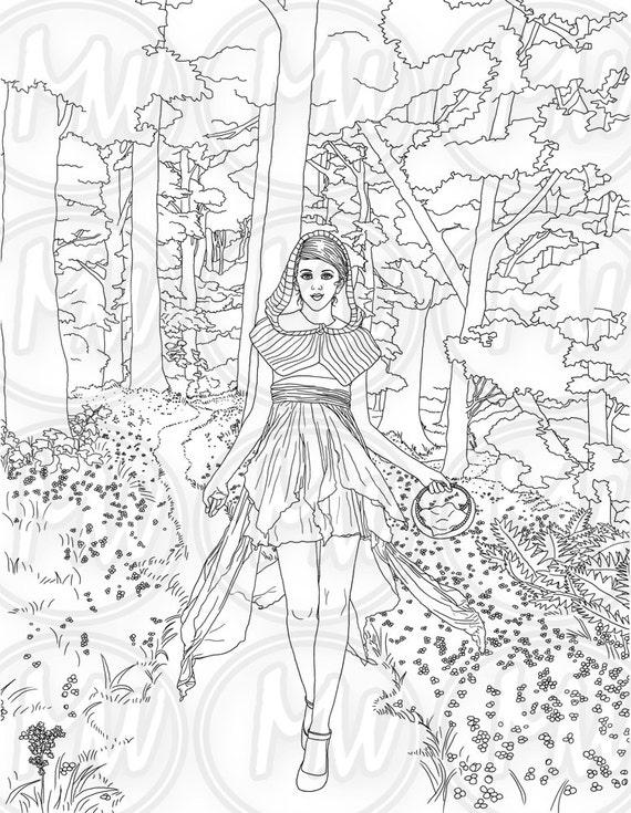 Caperucita Roja adultos página para colorear mujer chica | Etsy