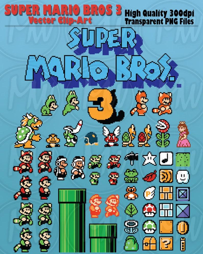Super Mario Bros 3 Clipart Mario Pixels 8 Bit Vector Etsy