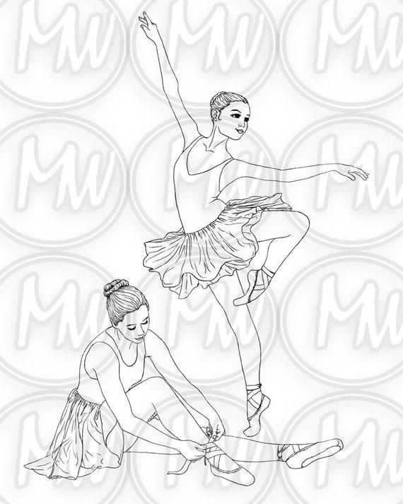 Bailarina baile para imprimir colorear página sello | Etsy