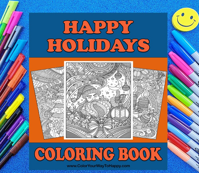 Happy Holidays Printable Christmas Coloring Pages image 0