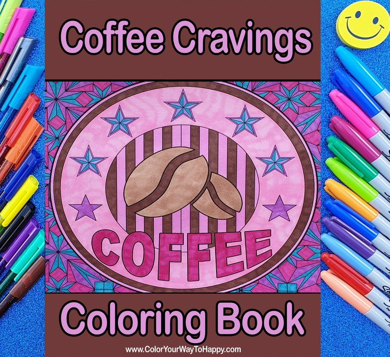 Coffee Cravings Adult Coloring Book for Stress Relief image 0