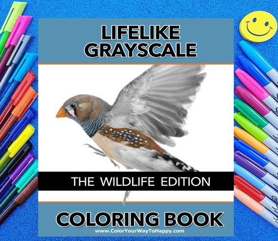 Lifelike Grayscale Adult Coloring Book The Wildlife Edition Etsy