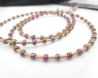 Beaded Lanyard Necklace, Lanyard With ID Holder, Womens Lanyard, Teacher Lanyard, Long Beaded Necklace, Key Lanyard, Gold, Pink, Purple