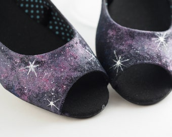Painted Galaxy Shoes Cosmo Flats - Purple - Size 5