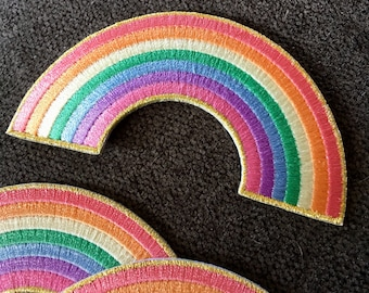 Pastel rainbow patch / iron-on patch / embroidered patch