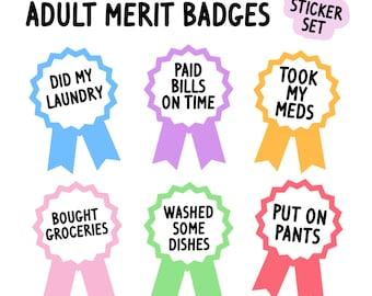 Adult merit badges sticker set | Adulting stickers | Funny stickers for adults