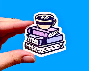 Book lover sticker | Books and coffee | Pile of books sticker | Sticker for readers | Holographic sticker | Laptop sticker | Phone sticker